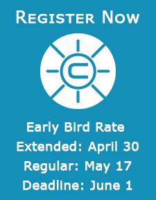 Register Now Graphic. Early Bird April 19, Regular May 17, Deadline June 1