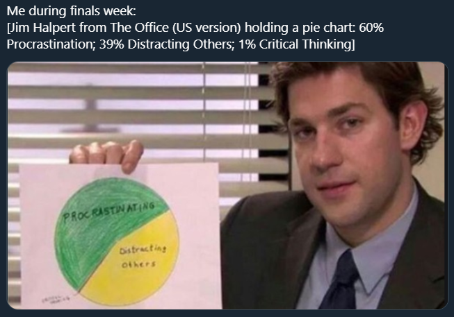 Jim Halpert from The Office (US version) holding a pie chart: 60% Procrastination; 39% Distracting Others; 1% Critical Thinking