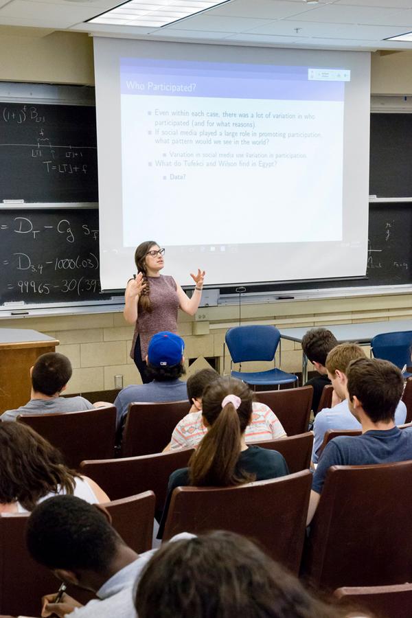 Female professor lectures