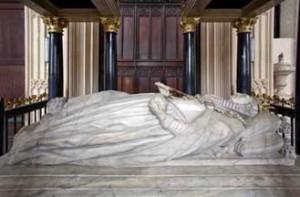 Elizabeth I tomb effigy (digitally altered so railings do not sh