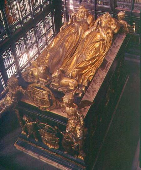 BAL99038 Tomb of Henry VII (1457-1509) and his Wife, Elizabeth of York, 1518 (bronze) by Torrigiano, Pietro (1472-1528) bronze Westminster Abbey, London, UK Italian, out of copyright