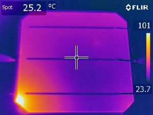 Figure 13: Infrared image of a Si PV cell showing second breakdown in reverse bias