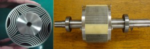 Figure 7: Rotor lamination (left) and prototyped rotor of the DEBRM.