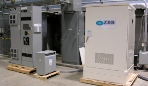 Figure 8: Power electronics unit (left) and zinc bromine battery system (right) installed at WESRF.