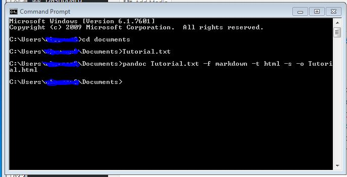 The input I put into Command Prompt in order to have Pandoc convert my document from .txt to .html.