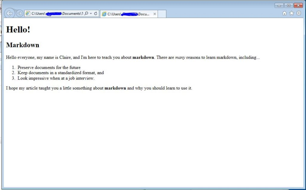 My file as an HTML file, viewed on Internet Explorer.
