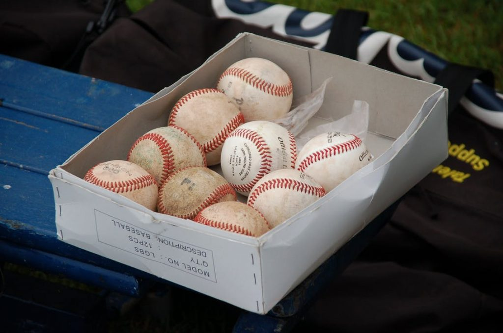 A box of baseballs.