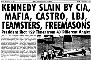 "Newspaper article with headline ""Kennedy Slain by CIA, Mafia, Castro, LBJ, Teamsters, Freemasons"""