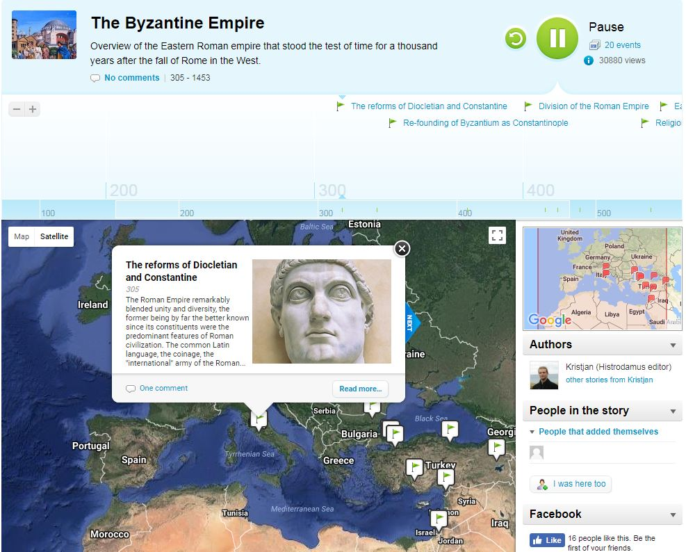A screenshot from a myHistro project on the Byzantine Empire.