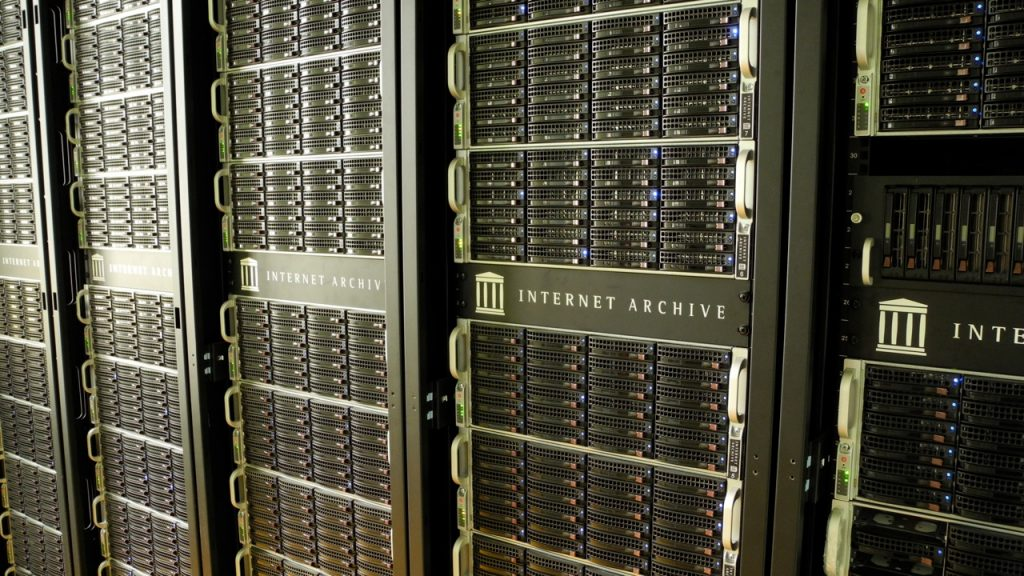 Image of data banks with the Internet Archive logo on them.