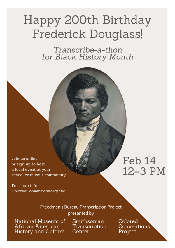 A flier advertising the Transcribe-a-thon, which includes a photo of Frederick Douglass