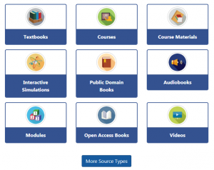 Image of the options within Oasis for OER materials