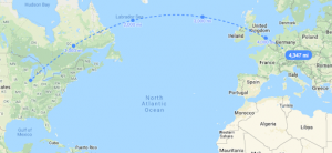 Distance line, Chicago to Frankfurt, Germany