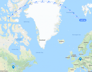 Distance line, Chicago to Frankfurt, Germany, set over Greenland