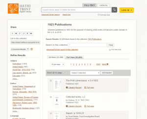 Screenshot of the HathiTrust search page for items published in the year 1923.
