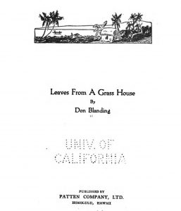 "Cover page of ""Leaves From A Grass House"" from Don Landing"