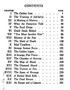 "Table of contents for ""Tarzan and the Golden Lion"""