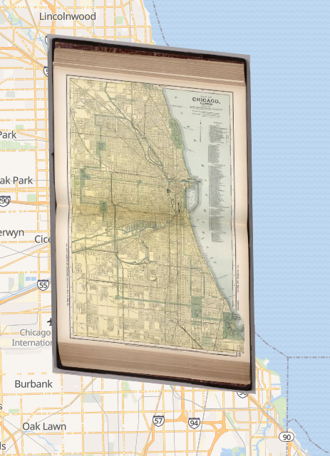 A map from a book about Chicago placed over a modern map of Chicago.