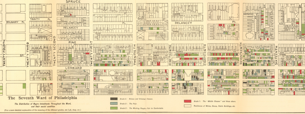 map of the seventh ward of philadelphia, each household is drawn on the map and represented by a color corresponding to class standing