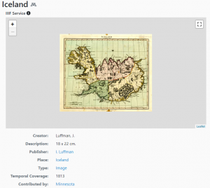 A screenshot from the BTAA Geoportal showing a historic map of Iceland with some metadata below.