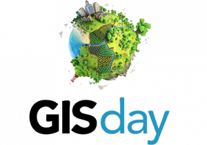 "the words ""GIS day"" in a stylized font appear below a graphic of a globe with features including buildings, trees, and water"