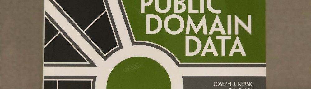 """The front cover of the book """"The GIS Guide to Public Domain Data"""" by Joseph J. Kerski and Jill Clark."""