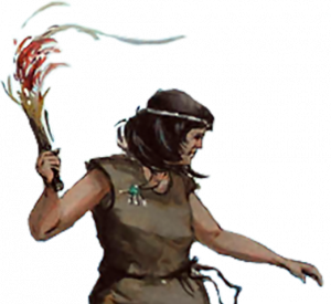 Illustration of the lone woman. Wearing a brown frock and headband, with a burning torch in her hand.
