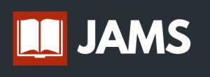 """JAMS"" with orange book icon and a dark gray background"