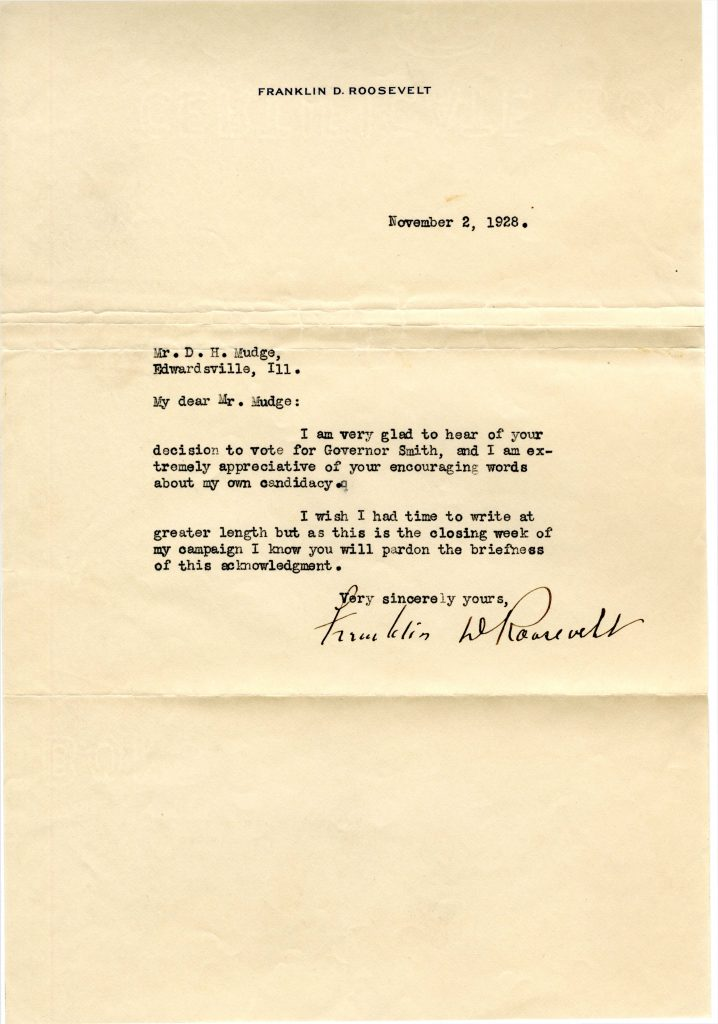 Raw scanned image of a typewritten letter signed by Franklin Roosevelt