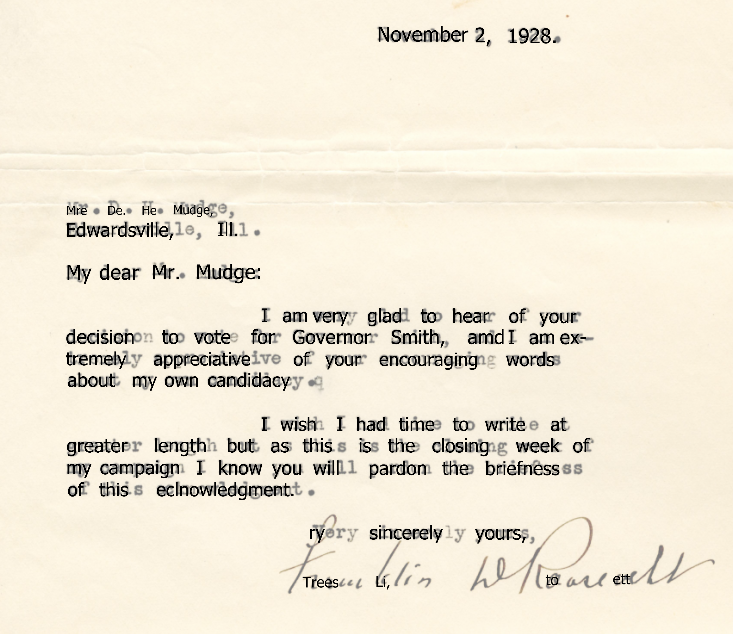 The text result of performing OCR on the FDR letter overlaid on the original scan.