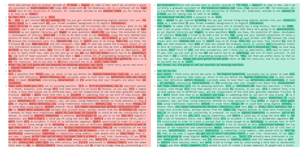 Screenshot of text comparison between Amazon-generated and human-generated transcripts.