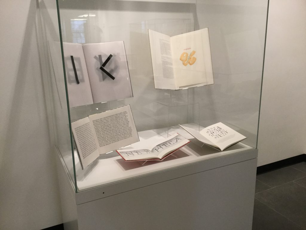 Art and Books exhibit case in RBML