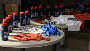 "Students were given free wellness goodies throughout Illini Wellness Week. On Wednesday, students received ""Illini on the move"" water bottles."