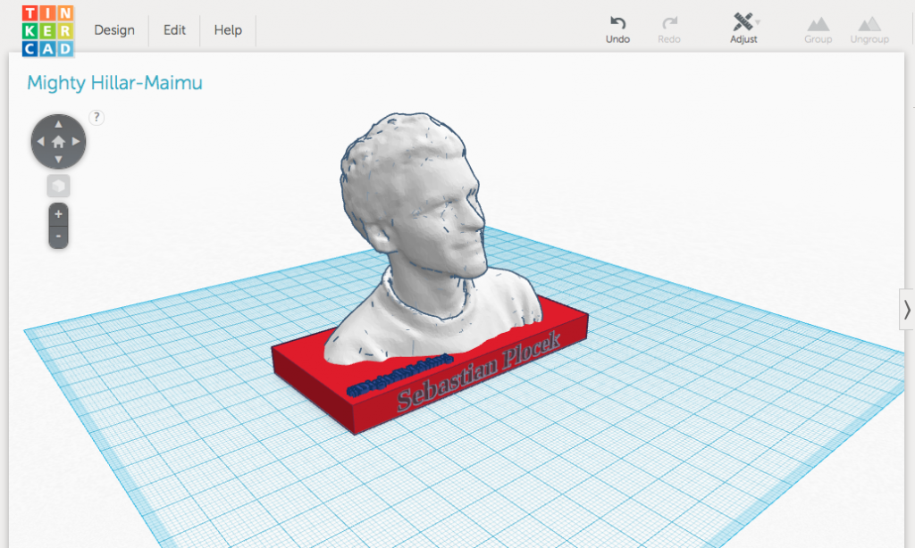 My head virtually at tinkercad