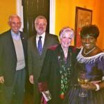 Ron Morris, David Cahill, Peg Morris, and performer