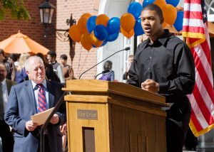 Gov. Pat Quinn listens to Edward Washington, freshman in political science, at the MAP rally on the Quad, Wednesday, October 7, 2009. Edward was one of several UI and Parkland College students who spoke in favor of the MAP grants.