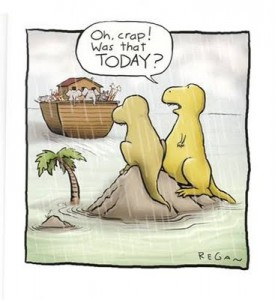 A comic depicting the implications of attributing mass extinction events to world wide flooding.