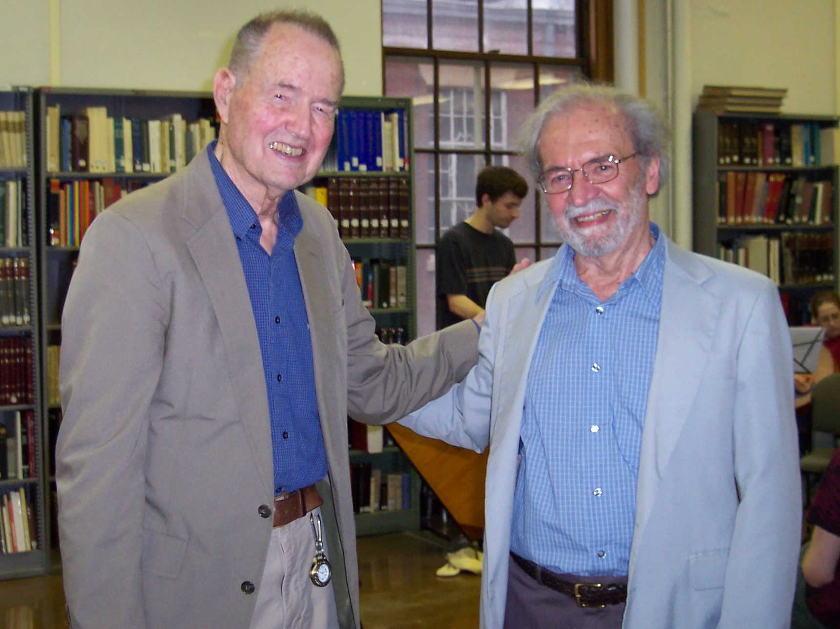 Ralph Fisher and Larry Miller in the Slavic Library celebrating Fisher's 90th birthday, April 5, 2010. Photographed by Alisa Kolodizner.