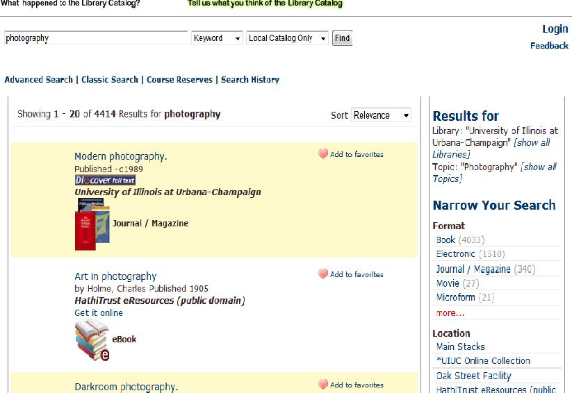 U of I catalog items for photography