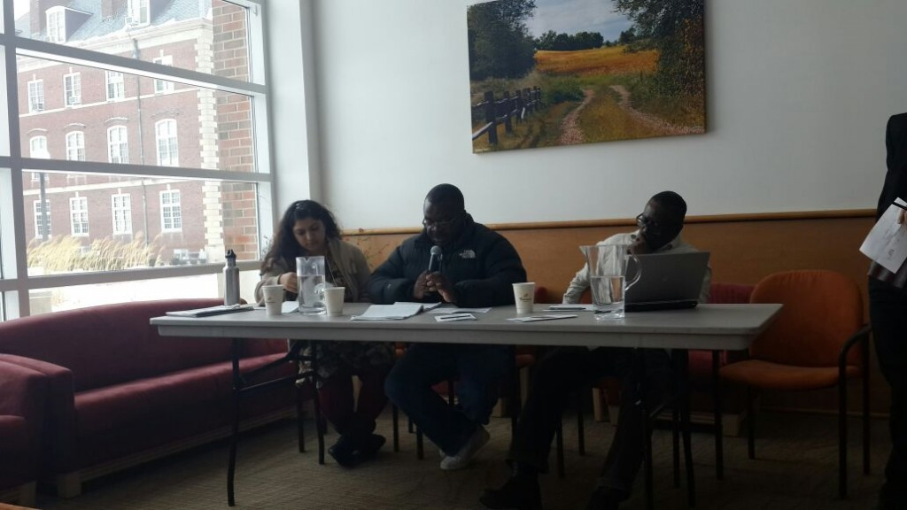 "Members of the panel on  the topic ""Is Power Africa Sustainable?"" L to R: Dipti Bhatnagar, Baruti Amisi, James Murombedzi."