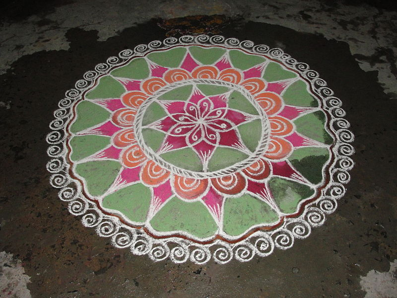 Painted kolam on the ground