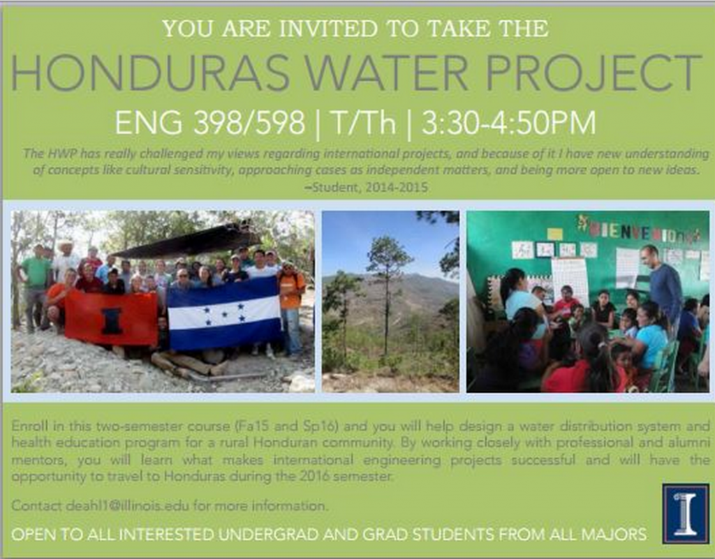 UIUC flyer for the Honduras Water Project Course
