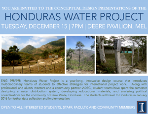 Flyer for the Honduras Water Project Conceptual Design Presentation, December 15, 2015