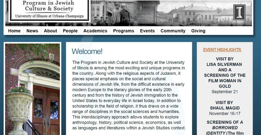 A screenshot of the University of Illinois' Program in Jewish Culture & Society's website's homepage.