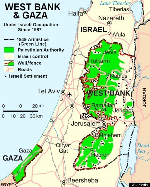 A map outlining occupied territories of Israel-Palestine. Credit: Wikimedia Commons