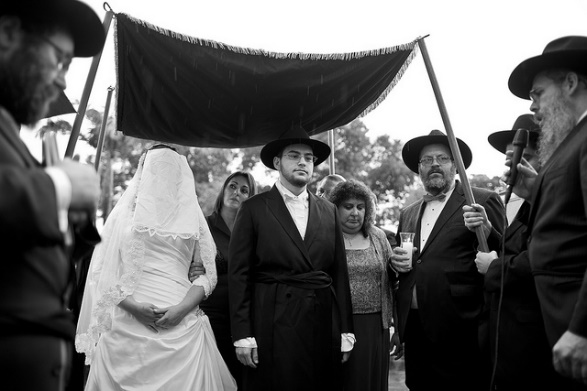 An image of a Jewish couple's marriage ceremony. Photo Credit: Robert Faerman