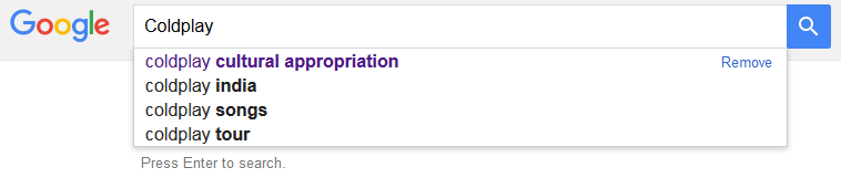 "Just Google ""Coldplay"" and you'll see that ""Coldplay cultural appropriation"" is one of the top suggestions."