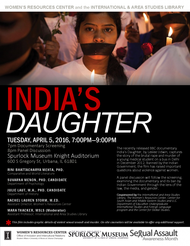"Poster designed by Rachel Storm to advertise the April 5th screening of the film ""India's Daughter""."
