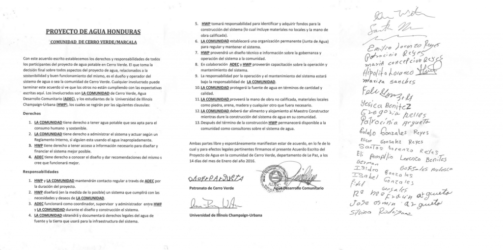 The signed agreement between the community of Cerro Verde, the NGO partner ADEC, and UIUC's Honduras Water Project class.
