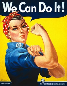 """We Can Do It!"" poster for Westinghouse, closely associated with Rosie the Riveter, although not a depiction of the cultural icon itself."